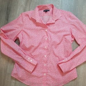 Lands' End pink floral button down shirt 12P